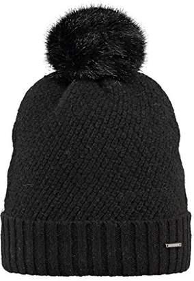 Barts Women's Amaranth Beanie hat, Black CON Pompom DI Pelo Nero