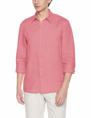 Isle Bay Linens Men's Slim-Fit 100% Linen Long-Sleeve Woven Casual Shirt X-Large Aqua