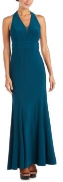 Morgan & Company Juniors' V-Neck Halter Gown