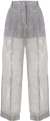 Emporio Armani Crinkle-Effect Pinstriped Trousers