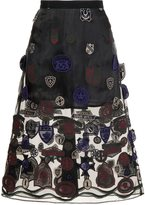 Sacai patch embroidered skirt - women - Cotton/Cupro - 2