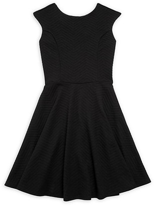 Un Deux Trois Girl's Textured Chevron Flare Dress