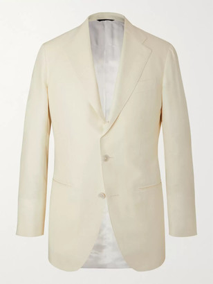 Off-White Wool, Silk And Linen-Blend Twill Suit Jacket