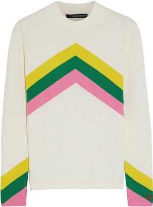 Perfect Moment Chevron Rainbow Intarsia Merino Wool Sweater