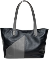 Holly & Tanager Commuter Leather Tote Bag In Black & Grey