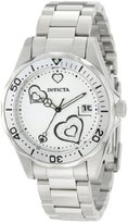 Invicta Women's 12286 Pro Diver Silver Heart Dial Stainless Steel Watch