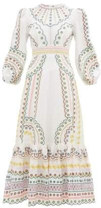 Zimmermann Peggy Embroidered Linen-blend Midi Dress - Womens - Cream Print