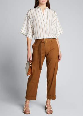 Vince Silky Stripe Short-Sleeve Popover Blouse