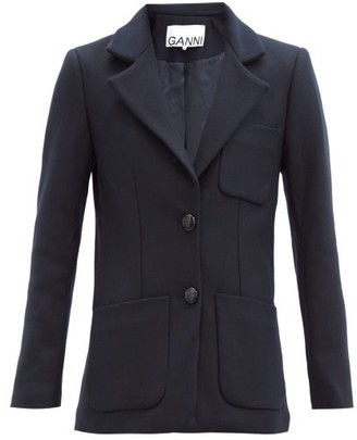 Ganni Single-breasted Wool-blend Jacket - Navy