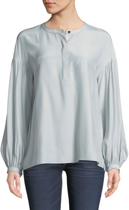 Lafayette 148 New York Kenzie Long-Sleeve Matte Silk Blouse w/ Chain Detail