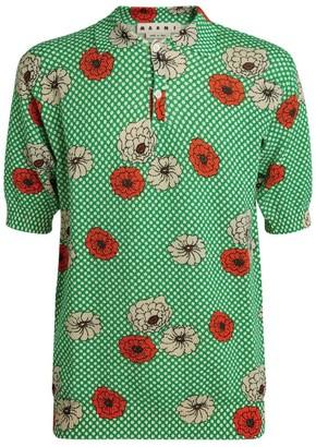 Marni Knit Floral Polka-Dot Polo Shirt