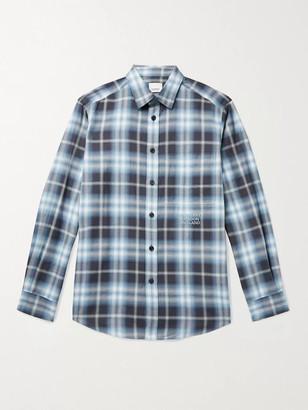 Burberry Logo-Embroidered Checked Herringbone Cotton-Poplin Shirt