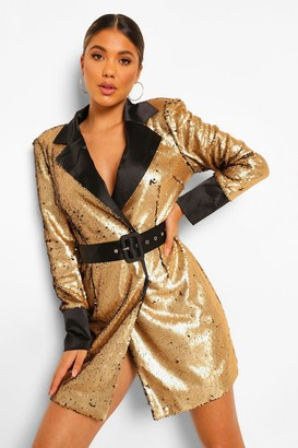 boohoo 2 Tone Sequin Belted Blazer Dress