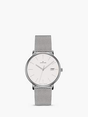Junghans 047/4851.44 Women's Form Date Mesh Bracelet Strap Watch, Silver/White
