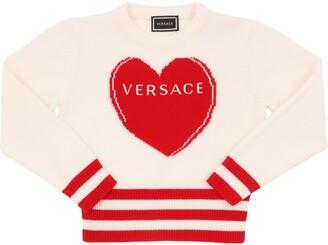 Versace Heart Intarsia Wool Knit Sweater