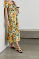 Thumbnail for your product : Faithfull The Brand + Net Sustain Rene Shirred Floral-print Cotton-poplin Midi Dress - Orange