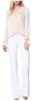 Paige Genevieve Petite w/ Exposed Buttonfly in Crisp White (Crisp White) Women's Jeans