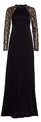Rachel Zoe Women's Miabella Sequin Long-Sleeve A-Line Gown