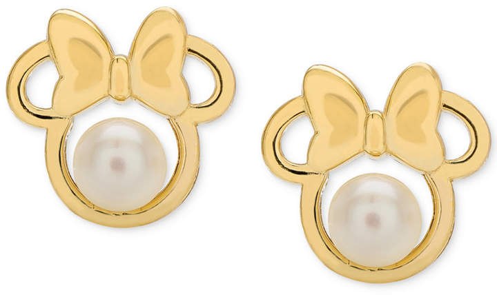 Disney Children's Cultured Freshwater Pearl (4mm) Minnie Mouse Stud Earrings in 14k Gold