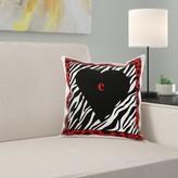Letter C on Heart on Zebra Print Pillow Cover East Urban Home