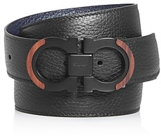 Salvatore Ferragamo Men's Gancini Reversible Wood Detail Belt