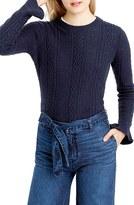 J.Crew Women's Ruffle Sleeve Cable Crewneck Sweater