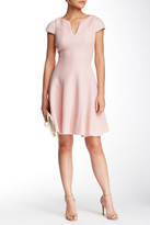 Julia Jordan Cap Sleeve Textured Neoprene Skater Dress