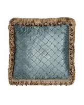 "Isabella Collection Grace Teal Diamond Pillow with Fringe & Onion Trim, 17""Sq."