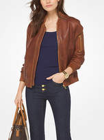 Michael Kors Washed Leather Bomber Jacket
