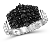 1 CT TW Round Black Diamond Sterling Silver Pyramid Cluster Ring by JewelonFire