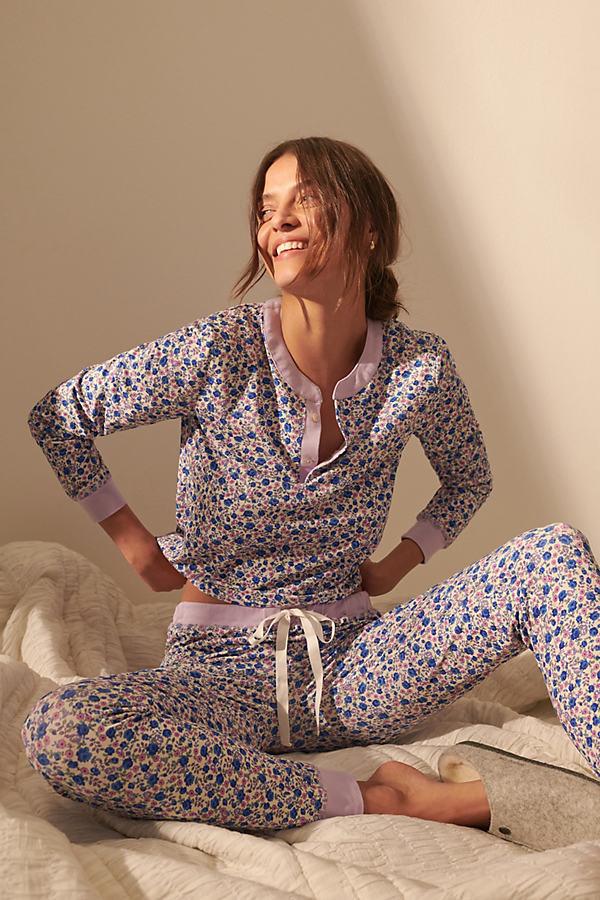 LoveShackFancy Kaia Fleurs Pajama Set By in Blue Size S