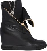 Casadei 80mm Zipped Leather Wedged Sneakers