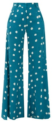 Adriana Degreas Wide-leg Polka-dot Silk Trousers - Womens - Blue Print