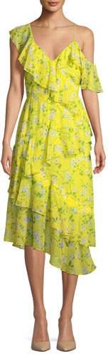 Alice + Olivia Olympia Asymmetric Ruffle Dress