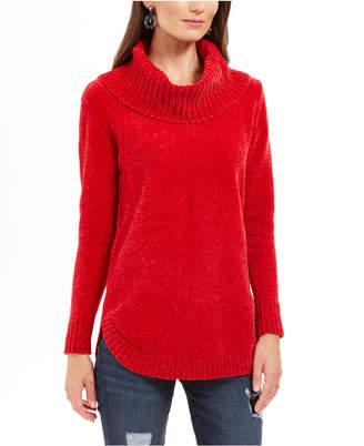 Style&Co. Style & Co Petite Metallic-Threaded Turtleneck Sweater