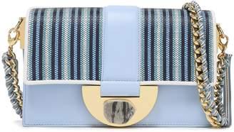 Diane von Furstenberg Stone Lock Bonne Journee Striped Faux Raffia-paneled Leather Shoulder Bag