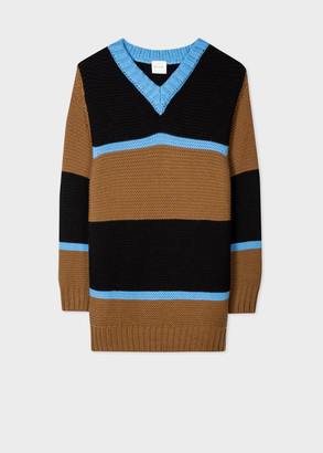 Women's Brown And Blue Stripe Oversized V-Neck Sweater