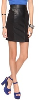 Ponte & Faux Leather Pencil Skirt