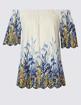Per Una Pure Cotton Embroidered Bardot Top