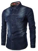 Honghu Men's Denim Two Pocket Spread Collar Dress Shirt Size S