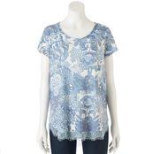 Lauren Conrad Women's Print Lace Trim Top