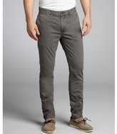 Just A Cheap Shirt graphite cotton 'Dixon-Roll' slim fit flat front chinos