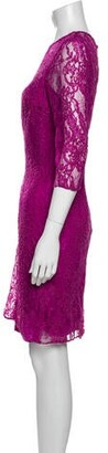CARMEN MARCH Lace Pattern Knee-Length Dress Purple
