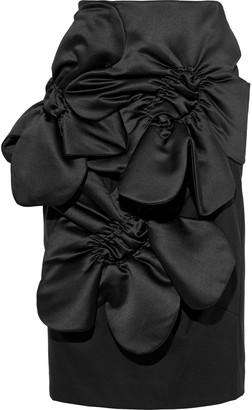 Simone Rocha Ruched Satin-paneled Wool-blend Twill Skirt