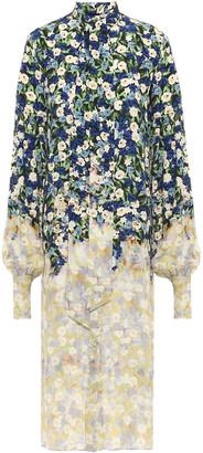 Rokh Pussy-bow Floral-print Silk Crepe De Chine Midi Shirt Dress