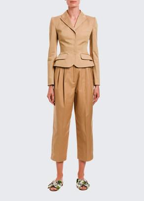 Dolce & Gabbana Khaki Snap-Front Blazer Jacket