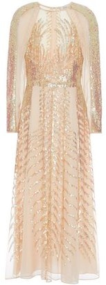 Temperley London Dusk Sequined Tulle-paneled Silk-chiffon Midi Dress