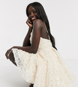Dolly & Delicious exclusive feather effect plunge front mini prom skater dress in cream