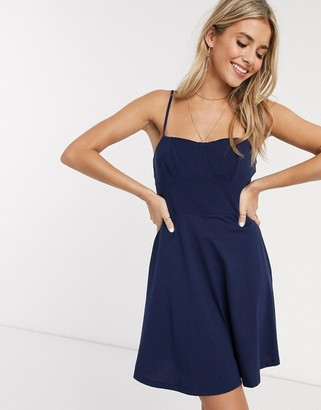 ASOS DESIGN mini square neck sundress with cup seams in navy