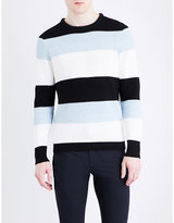 Sandro Striped Chunky-knit Cotton Jumper